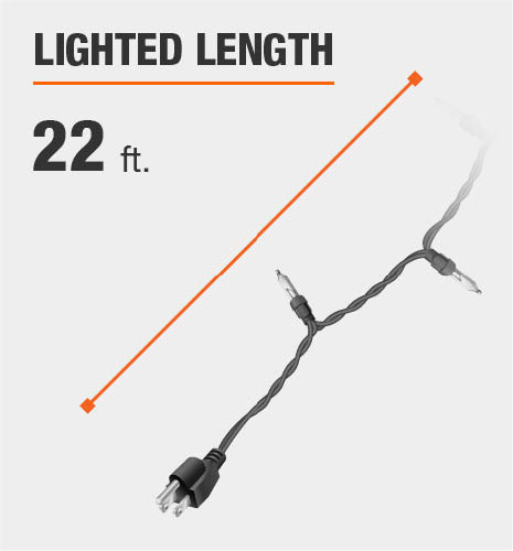 The lighted length is 22 feet