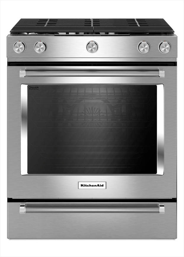 kitchenaid 30 in 5 8 cu ft slide in gas range with self cleaning