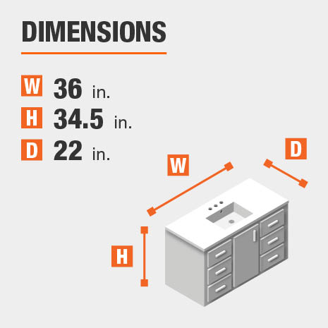 The dimensions of this bathroom vanity are 36 in. W x 34.5 in. H x 22 in. D