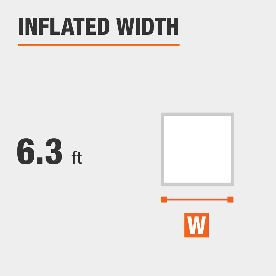 Inflated width is 6.3 feet