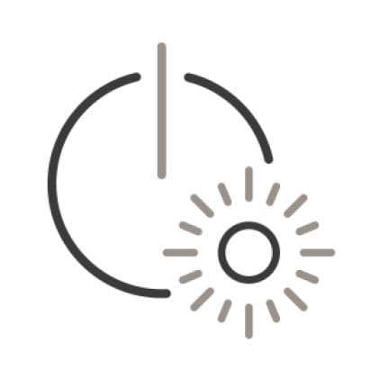 An icon of a blinking light is superimposed over the power symbol.