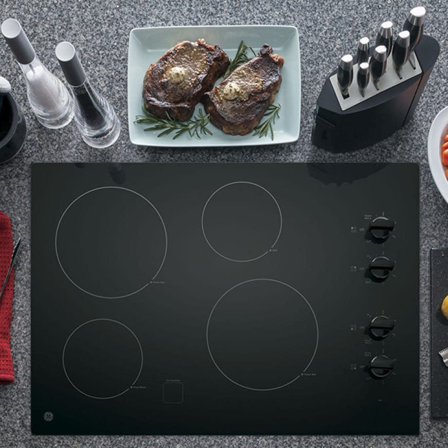 Overhead image of cooktop in kitchen