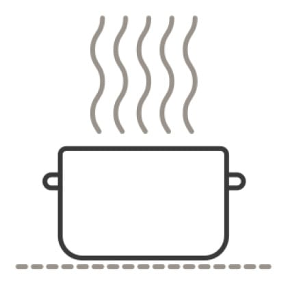 An icon of a pot being warmed