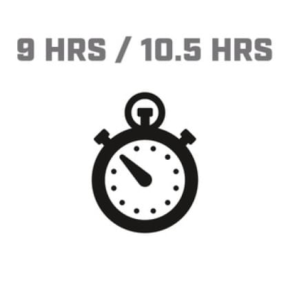 Icon image of clock showing 9/10.5 hour run time