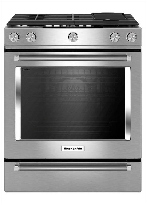 Kitchenaid 30 In 6 5 Cu Ft Slide In Gas Range With Self