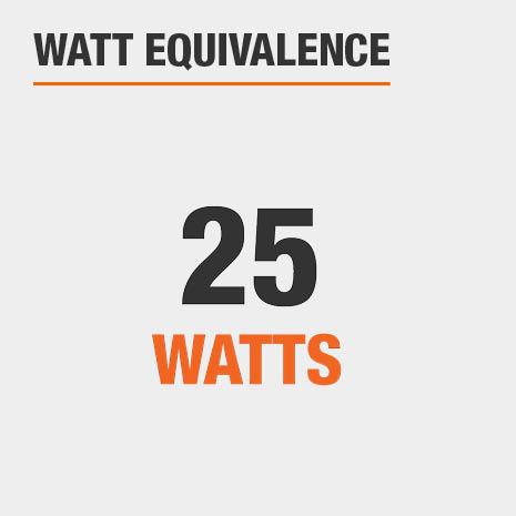 This light has a watt equivalence of 25 watts.