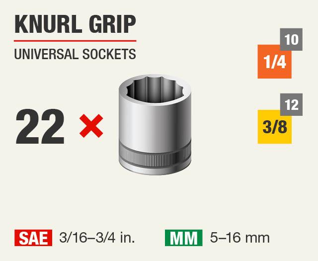 Knurl Grip Universal Sockets