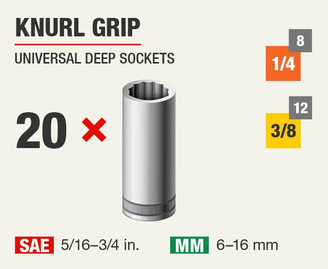 Knurl Grip Universal Deep Sockets