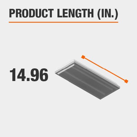 This light fixture has a length of 14.96 inches.
