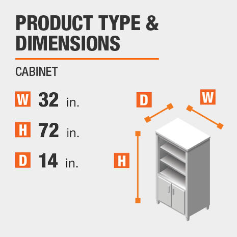 Cabinet Product Dimensions 32 inches wide 72 inches high