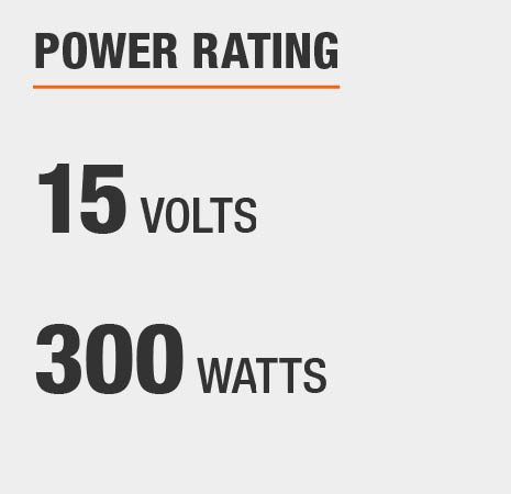 This transformer has a power rating of 15 volts and 300 watts.