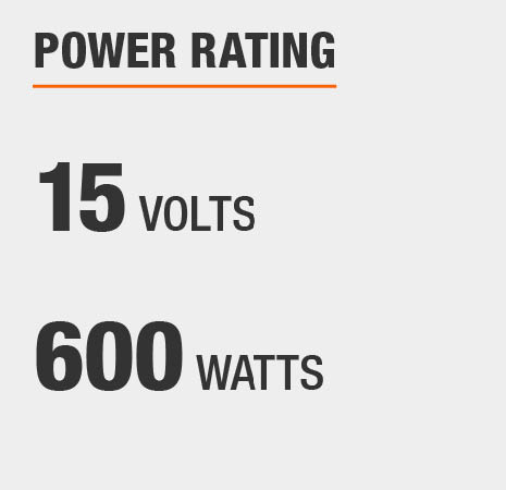 This transformer has a power rating of 15 volts and 600 watts.