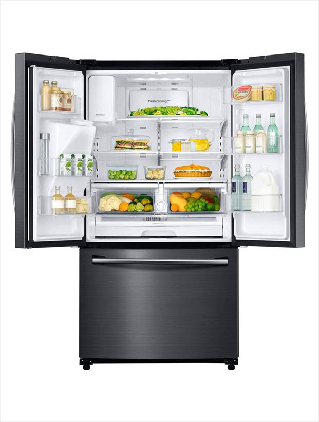 Samsung 24.6 cu. ft. French Door Refrigerator in Black Stainless ...