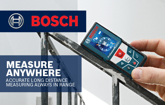 Bosch GLM 50 CX being used to level and capture angle of stair railing.