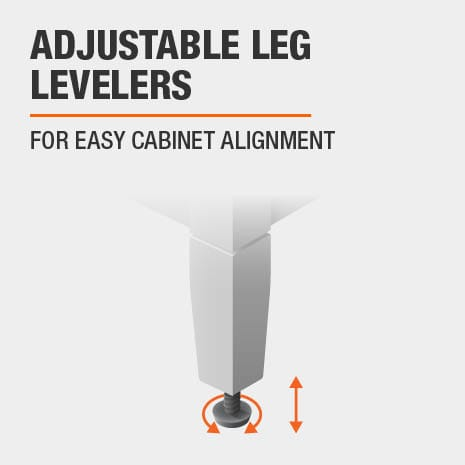 Bath vanity features adjustable leg levelers for easy alignment