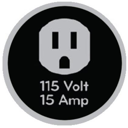 Icon of 115-volt outlet that says 115 volt, 15 amp