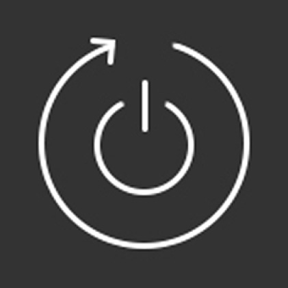Icon of start button with circular arrow