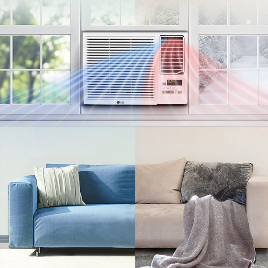 Window air conditioner showing cool air flow on one side and warm air flow on the other in a room with a sofa