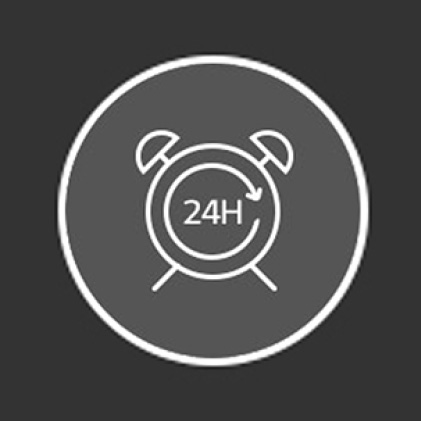 Icon of clock that says 24H