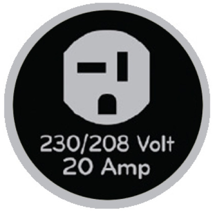Icon of 230-volt outlet that says 230/208 volt, 20 amp