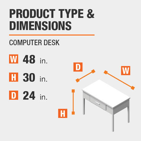 Computer Desk Product Dimensions 48 inches wide 30 inches high