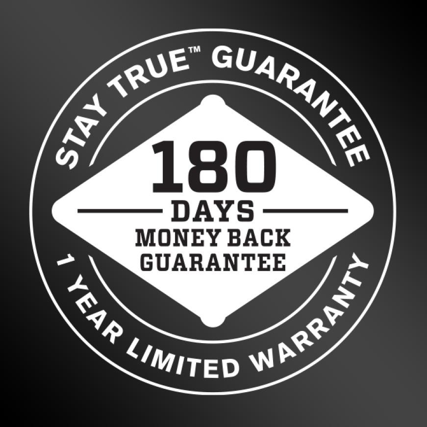 Stay True Guarantee logo.