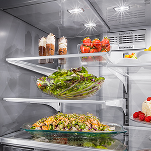 Three bright LED lights fully illuminate the interior of the refrigerator.