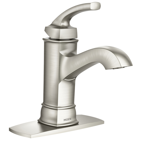 Moen Hensley Single Hole Single Handle Bathroom Faucet Featuring Microban Protection In Spot