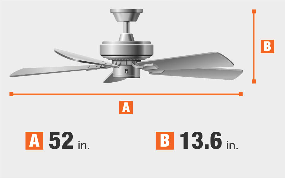 Ceiling Fan dimensions. Fan blade span 52 inches wide by 13.6 inches high