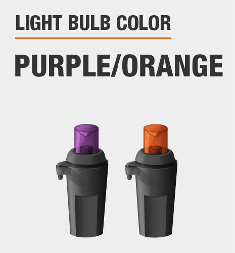 Light bulb color is purple and orange
