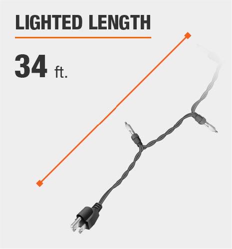 The lighted length is 34 feet