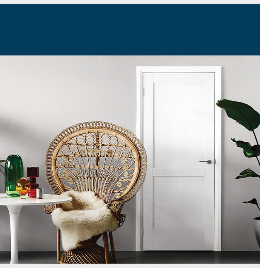 Interior view of white Moda door