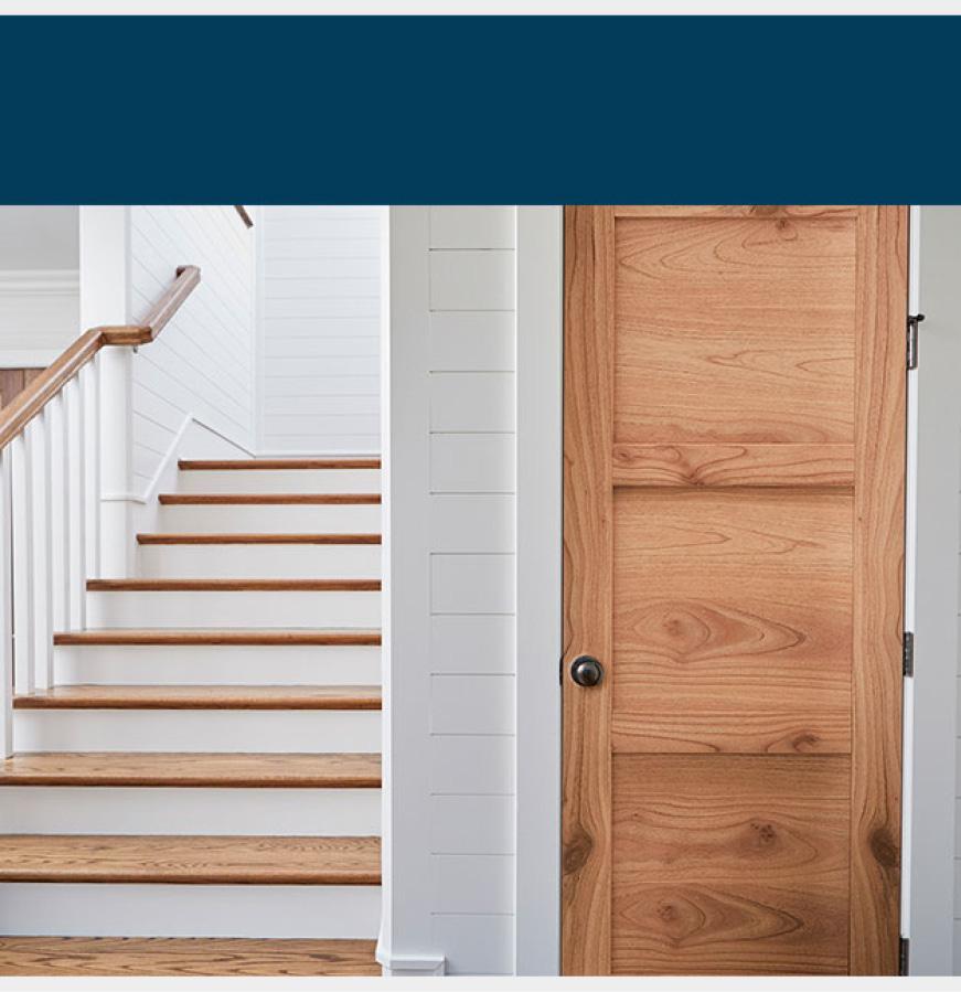 View of Moda Rustic wood looking door