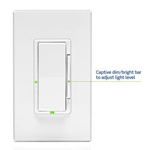 Captive dim/bright bar to adjust light level