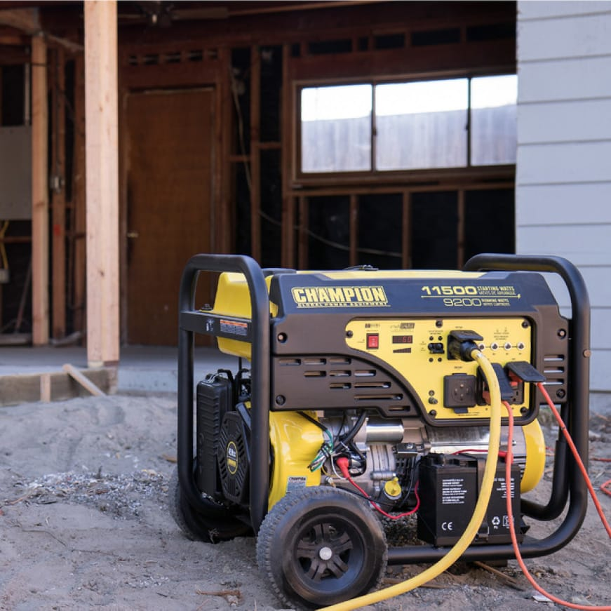 Lifestyle image of generator powering a construction site