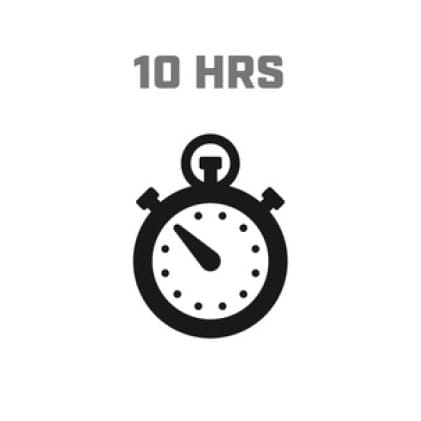 Icon image of clock showing 10 hour run time