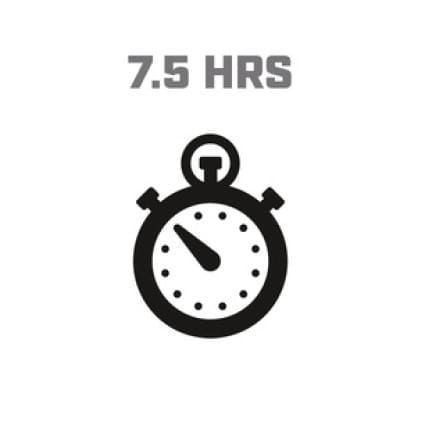 Icon image of clock showing 7.5 hour run time