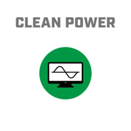 Icon image of computer screen with sine waves showing Clean Power