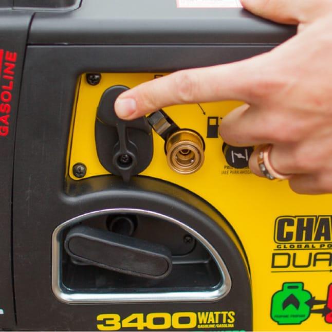 Closeup image of propane/gas fuel selector dial
