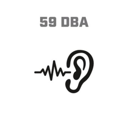 Icon image of soundwaves entering ear, showing 59 DBA