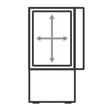 An icon of the appliance. Arrows measure the internal capacity