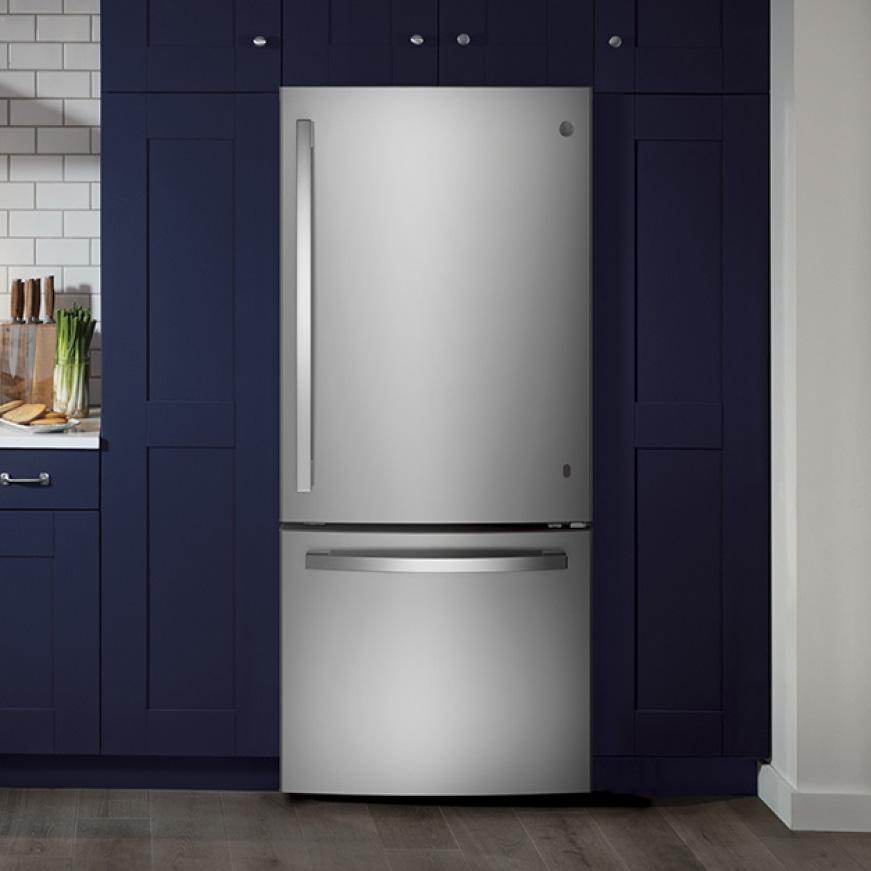 GE Appliances, the best bottom freezer refridgerator installed in a modern kitchen