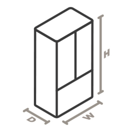 An icon of a refrigerator viewed from a corner looking down. Lines designate and measure the height, width, and depth of the appliance.
