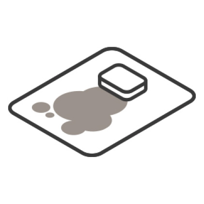An icon of a spill. The glass shelf contains the spill while a sponge wipes it up