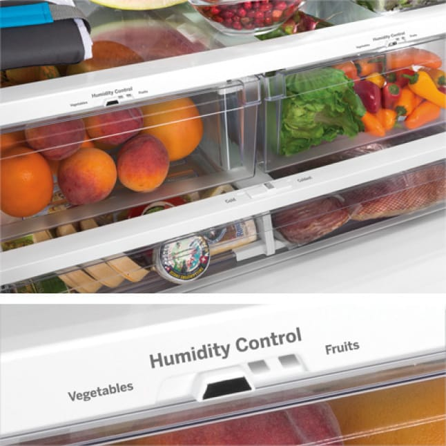 Tight shot showing Humidity Control Drawers filled with produce.