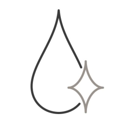 An icon of a water droplet. A single sparkle shines in the corner, demonstrating its purity.