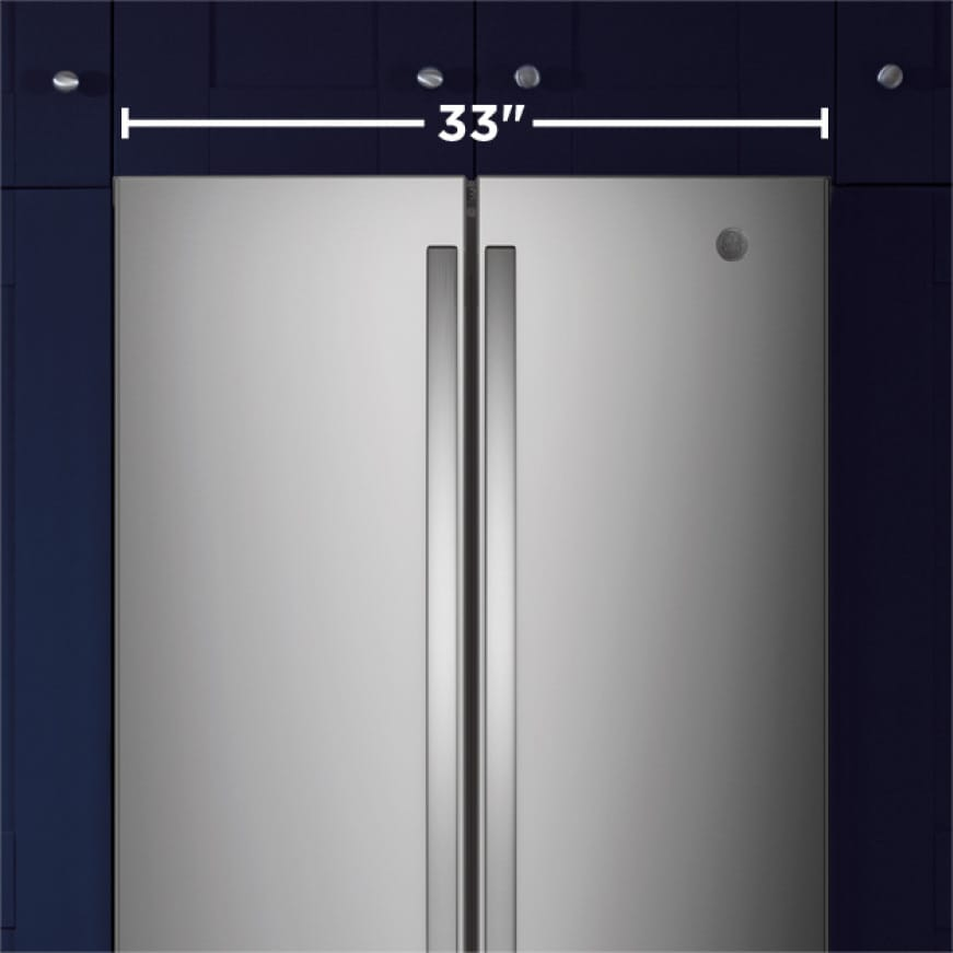 Tight shot of front of refrigerator showing the width with a text overlay.