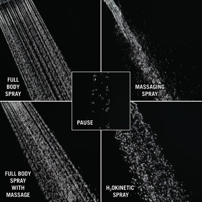 Image is an up-close view of 5 different shower sprays on a black background: H2Okinetic, Full, Full w/ Massage, Massage, Pause