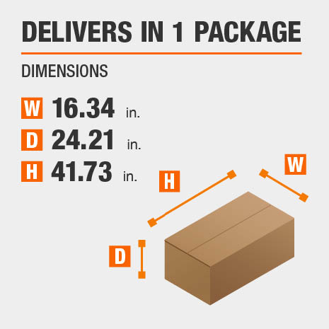 Delivers in 1 Package Dimensions of 16.34 inches wide, 24.21 inches deep, 41.73 inches high.