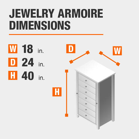 Jewelry Armoire Dimensions of 18 inches wide, 24 inches deep, 40 inches high.